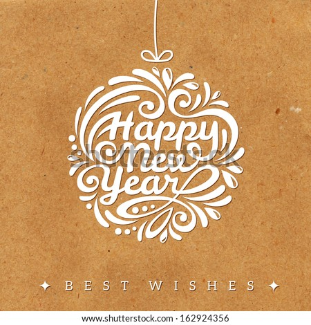 Christmas And New Year 2014 Greeting Card. Vector Illustration. Textured Background. Wrapping Paper. Cardboard With Rough Structure. Old Paper. Wallpaper.