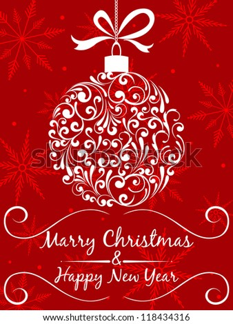Christmas and new year Greeting Card. Vintage card with Christmas Tree on red vector background.