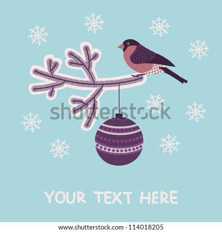 Christmas and New Year greeting card with a bullfinch and christmas decorations.  Vector illustration.