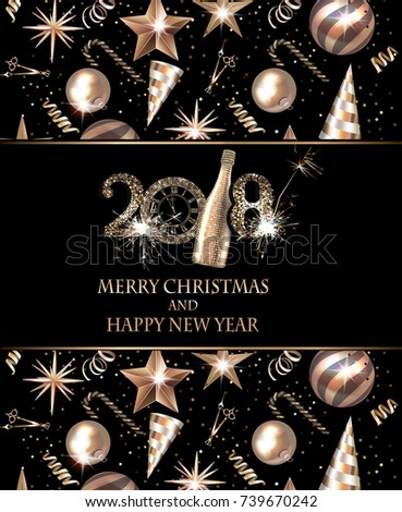 Christmas and new year greeting card with christmas deco objects. Vector illustration