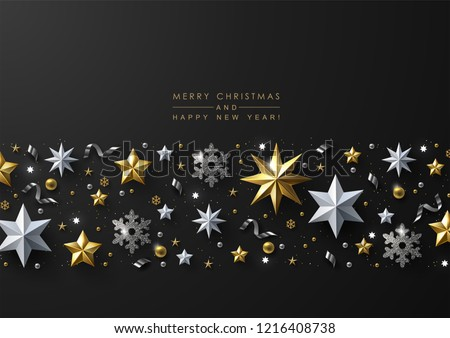Christmas and New Year Greeting Card with Decorative Border made of Gold and White Stars, Silver Snowflakes,  Sparkling Beads and Glitter.