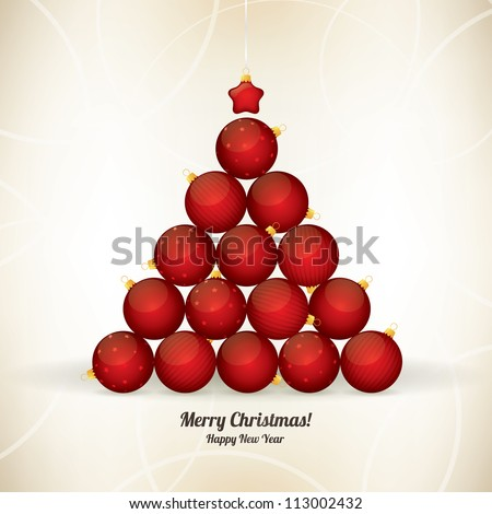 Christmas and New Year greeting card with fir-tree of the balls