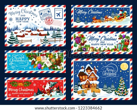Christmas and New Year holidays postcards. Vector Santa Claus, Xmas gifts and pine trees, snowman, reindeer sleigh and winter village with snowy houses, presents, bell, balls and gingerbread