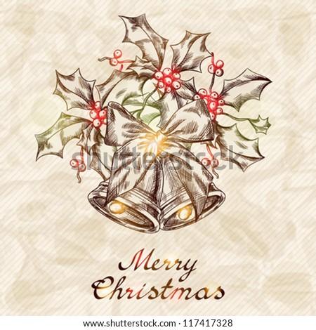 Christmas and New year holidays vector hand drawn card.