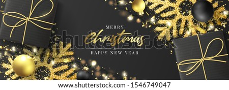 Christmas and New Year horizontal banner. Festive background with realistic black gift boxes, gold snowflakes and sparkling light garlands. Vector illustration with Christmas balls and confetti.
