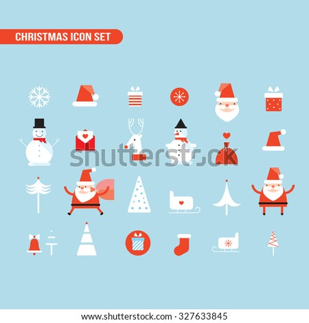 Stock Photo Christmas and New Year icon set Holiday Santa Claus Snowman