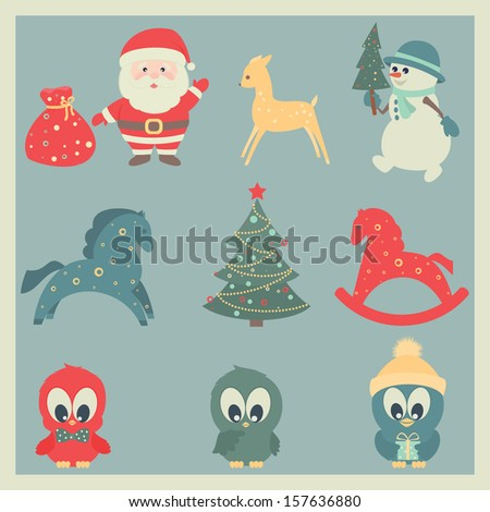 Christmas and New Year icons. Vector set, EPS 8.