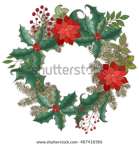 christmas and new year invitation card hand drawn vector illustration of wreath on light background