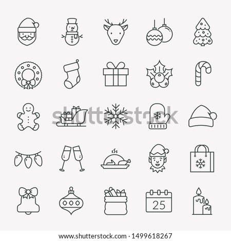 Christmas and New Year line icons set. Outline vector collection for Xmas and Season's Greetings themes. Isolated winter holiday symbols - Santa, Elf, snowman, Christmas tree, snowflake, deer, etc.