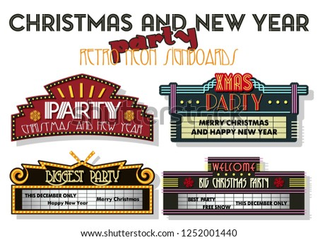 Christmas and New Year Party Invitation Stickers Retro Cinema Neon Signboards Stylization #1252001440
