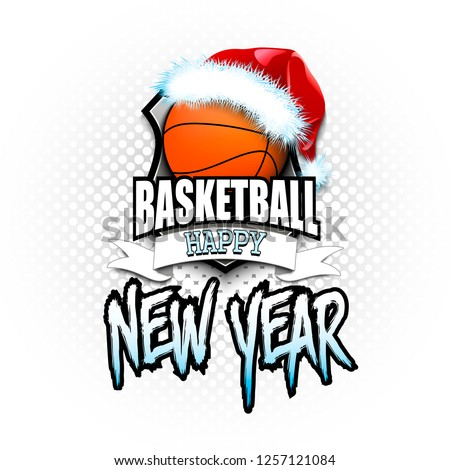 Christmas and new year pattern. Basketball logo template design. Basketball ball with santa hat. Pattern for banner, poster, greeting card, party invitation. Vector illustration
