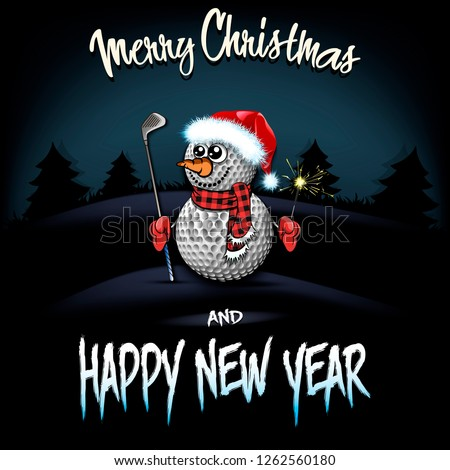 Christmas and new year pattern. snowman from golf balls with putter and sparklers on the background of dark Christmas tree forest. Design pattern for greeting card. Vector illustration