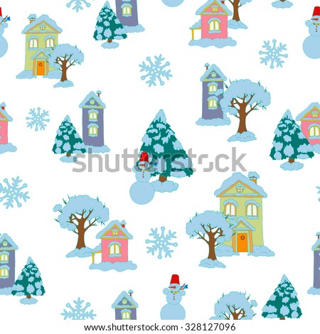 Christmas and New Year pattern. Vector illustration.
