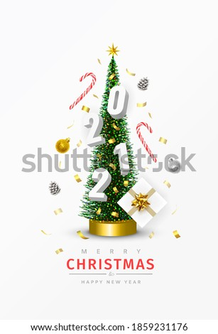 Christmas and New Year 2021 poster. Conical Christmas Tree. Pine cones, Sweets, Confetti, Gifts, 2021 numbers, Christmas balls are circling around the Xmas tree. Winter holiday composition. 3D Vector