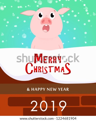 Christmas and New Year poster design Cute piggy catching snowflakes with open mouth. Illustration can be used for banners, flyers, postcards