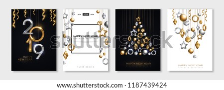 Stock Photo Christmas and New Year posters set with hanging gold and silver 3d baubles and 2019 numbers. Vector illustration. Winter holiday invitations with geometric decorations