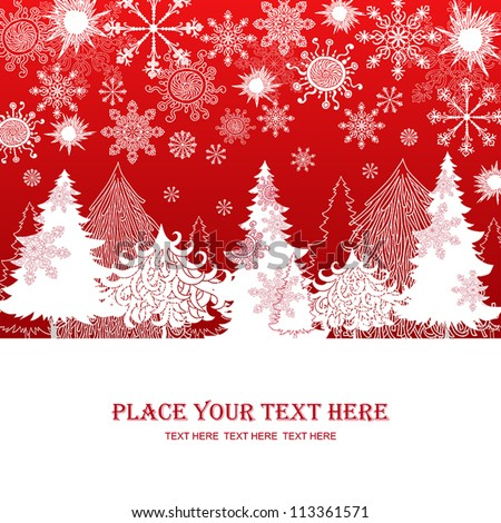 Christmas and New Year red background, xmas retro gift template, abstract beautiful card, graphic christmas trees for design