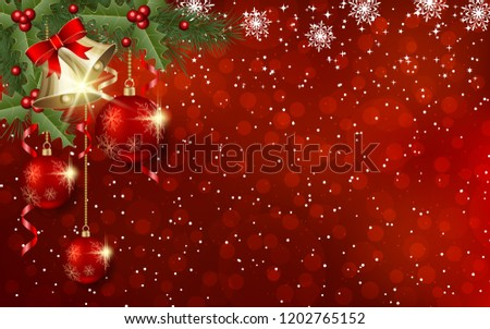 Christmas and New Year red blurred vector background with winter decor #1202765152