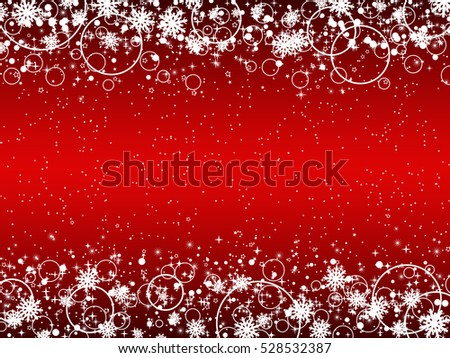 Christmas and New Year red vector background with snowflakes, stars and rings. #528532387