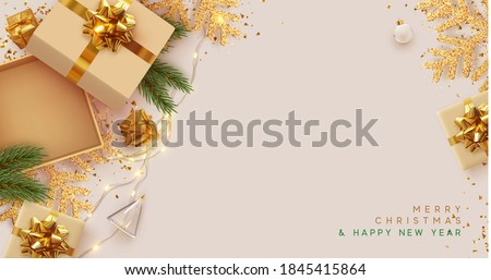 Christmas and New Year's gift composition. Empty Open gift box template. Xmas design Realistic decorative object. Sale banner, surprise poster, flyer and brochure. mock up holiday. Vector illustration Photo stock ©