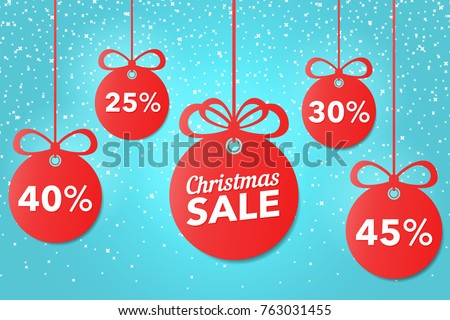 Christmas and New Year's sale. Beautiful discount and promotion red Christmas balls. Special offer vector tag. New year holiday card template. Shop market poster design. Vector illustration.