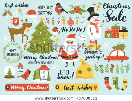 Christmas and New Year's set with Santa, snowman, deer, fur-tree, calligraphy, ornaments, wreath and other. Perfect for greeting card, web, scrapbooking, poster, tag, sticker kit. Hand drawn elements.