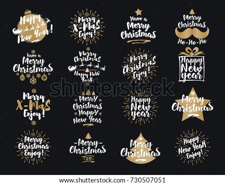 Christmas and New Year's signs set white gold color on black background for greeting cards, gift tags, emblem, Christmas sale, product promotion, web design and marketing material. Vector Illustration