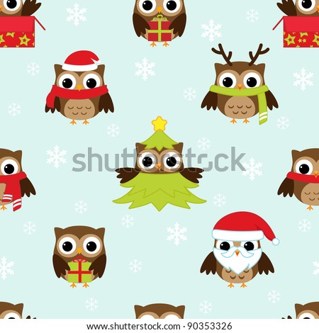 Stock Photo Christmas and New Year's vector pattern with owls in funny costumes