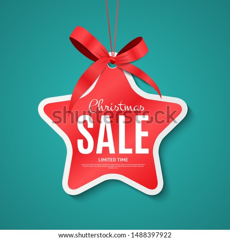Christmas and New Year Sale Gift Voucher, Discount Coupon Template Vector Illustration EPS10