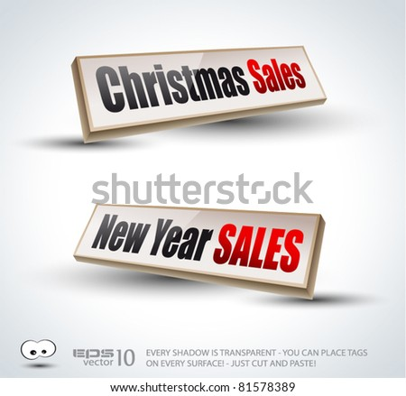 Christmas and New Year sales 3D Panels with Transparent Shadows and glossy reflection. Ready to copy and past on every surface.