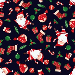 Christmas and New Year seamless pattern.