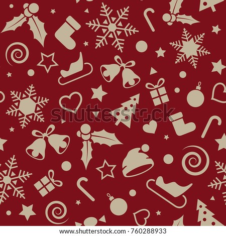 Christmas and New Year seamless pattern, vector xmas background