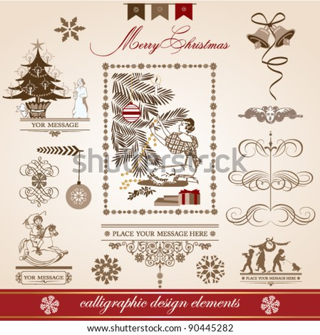 Christmas and New Year. set of vector decorative, calligraphic elements, antique and vintage jewelry, banners, text, separators, with snowflakes and stars design. Christmas Tree
