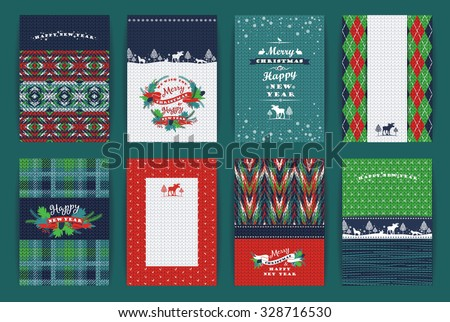 stock-vector-christmas-and-new-year-set-plaid-and-knitted-backgrounds-vector-design-templates-collection-for