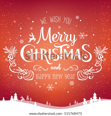 Christmas and New Year typographical on background with winter landscape with snowflakes, light, stars. Xmas card. Vector Illustration