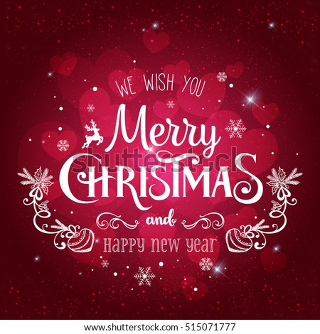 Christmas And New Year Typographical on dark Xmas background with snowflakes, light, stars. Vector Illustration. Xmas card