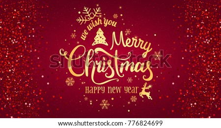 Christmas Red.Bokeh Merry Christmas Background Vector