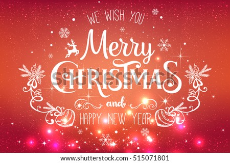 Christmas And New Year Typographical on red Xmas background with snowflakes, light, stars. Vector Illustration. Xmas card