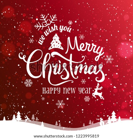 Christmas and New Year Typographical on red Xmas background with winter landscape, snowflakes, light, stars. Merry Christmas card. Vector Illustration