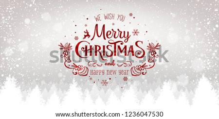 Christmas and New Year Typographical on snowy Xmas background with winter landscape with snowflakes, light, stars. Merry Christmas card. Vector Illustration #1236047530