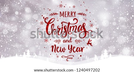 Christmas and New Year Typographical on snowy Xmas background with winter landscape with snowflakes, light, stars. Merry Christmas card. Vector Illustration #1240497202
