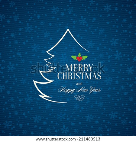 Christmas and New Year Vector greeting card