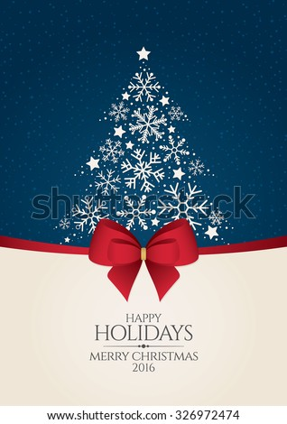 Christmas and New Year. Vector greeting card with Christmas tree