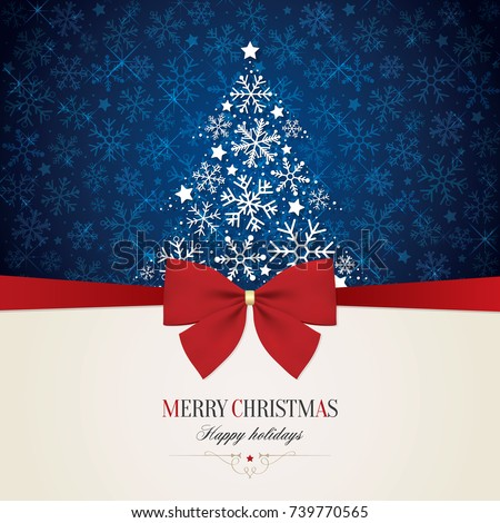 Christmas and New Year. Vector greeting card with red bow and Christmas tree