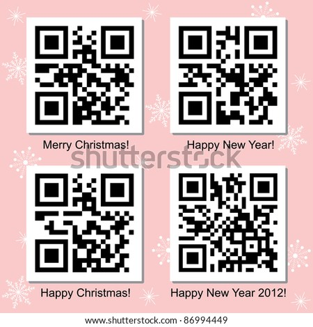Christmas and New Year vector QR Codes collection for your design.