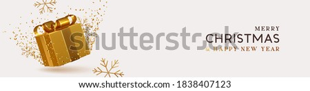 Christmas and New Year web banner, header for website. Golden realistic 3d gift box, gold snowflake and tinsel confetti. Xmas flyer, brochure, horizontal holiday background. vector illustration