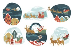 Christmas and new year winter holidays celebration. Santa claus flying or riding on sleight delivering gifts for xmas. Snowy cityscape at night with full moon and stars. Greetings vector in flat