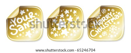 Christmas and New Years stickers set - stock vector