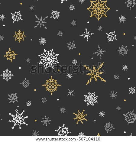 christmas and winter background with snow gold and black seamless