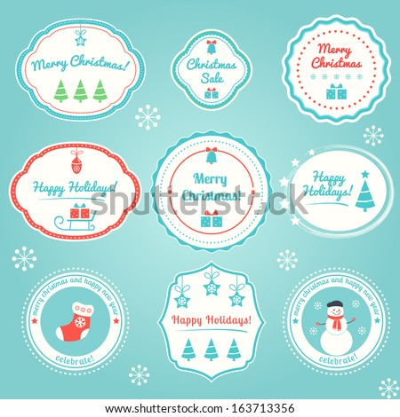 Christmas and Winter Holidays Labels Set